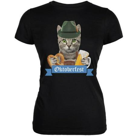 Oktoberfest Funny Cat Black Juniors Soft T-Shirt