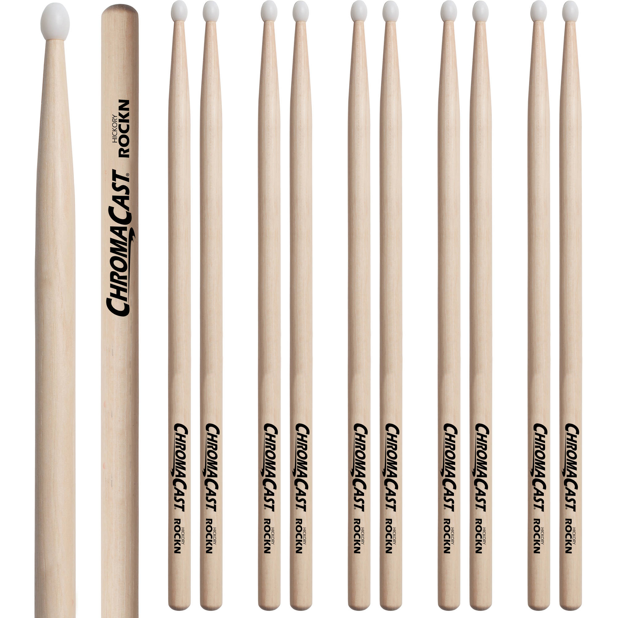 ChromaCast ROCK Hickory Nylon-Tipped Drumsticks, 6 Pairs