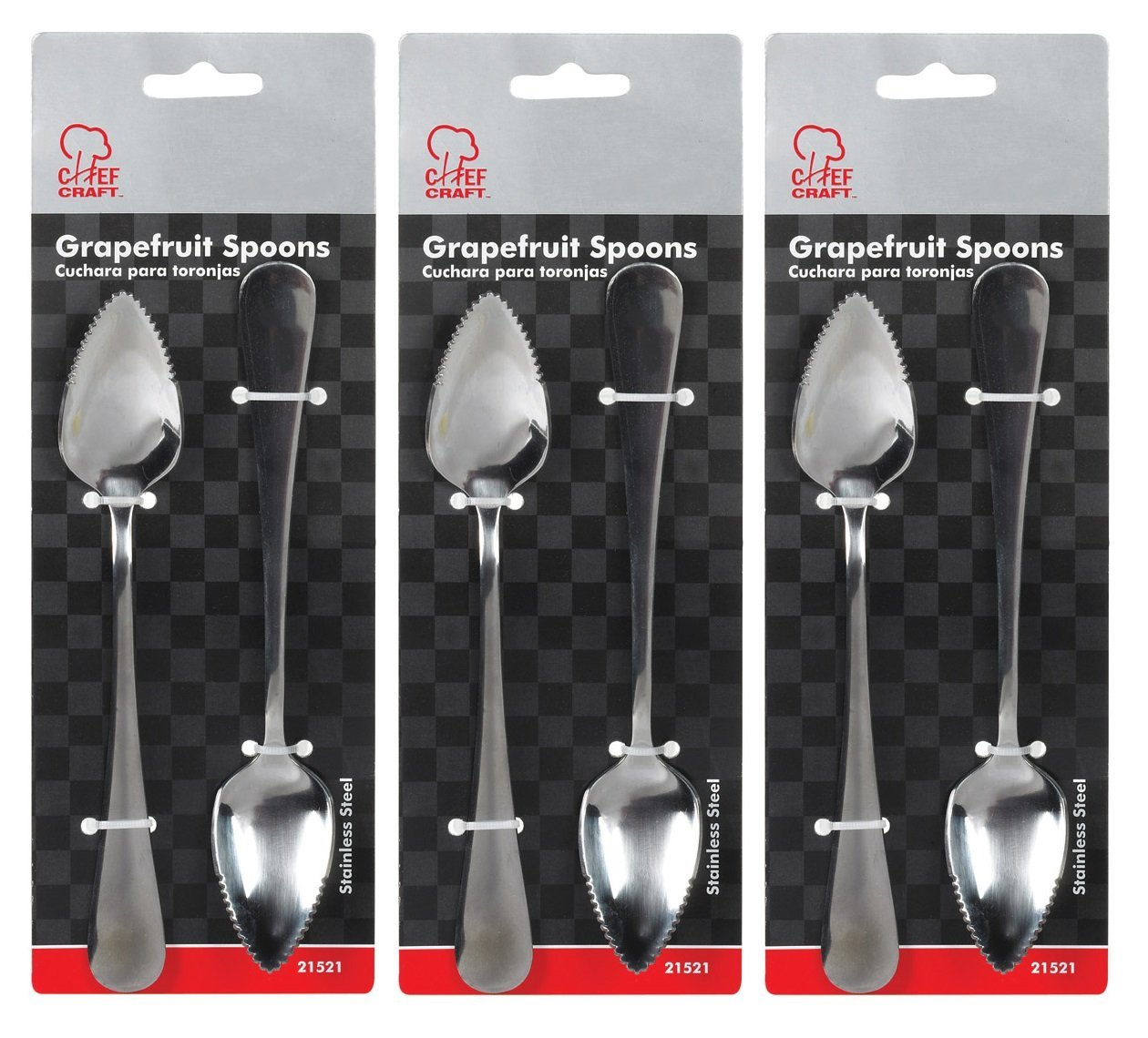 Stainless Steel Grapefruit Spoons - 3 Packs of 2, Specifically designed for eating grapefruit By Chef Craft