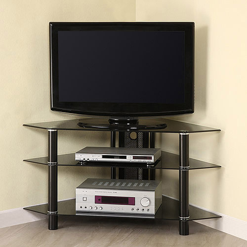 """Glass/Metal Corner Clear/Silver TV Stand for TVs up to 48"""", Multiple Colors"""