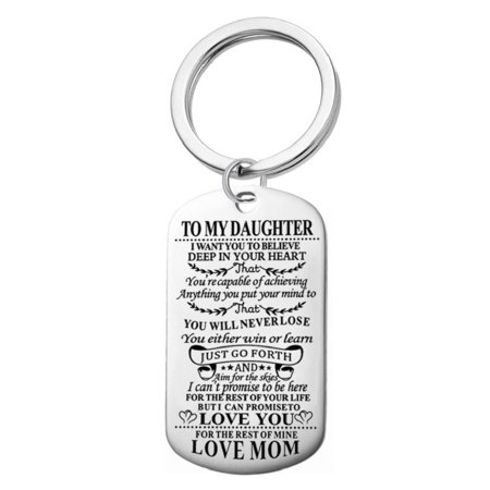 AM Landen To My Daughter from Mom Personalized Stainless Steel Engraved Photo Dog Tag Key-chain](Personalized Keys)