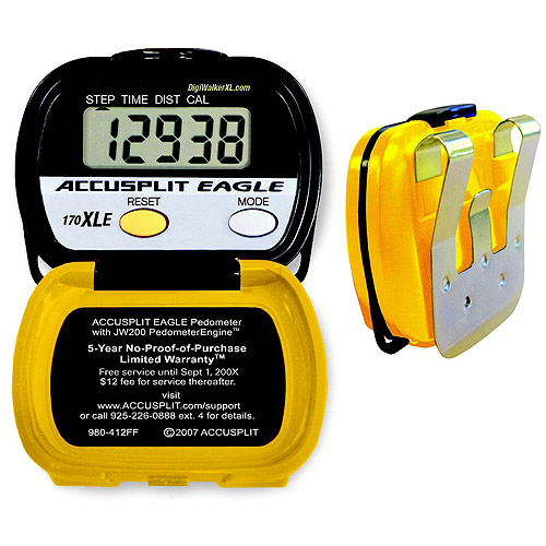 Accusplit Education XLE Pedometer for Steps, Distance, Calories, Activity time, Yellow/Black