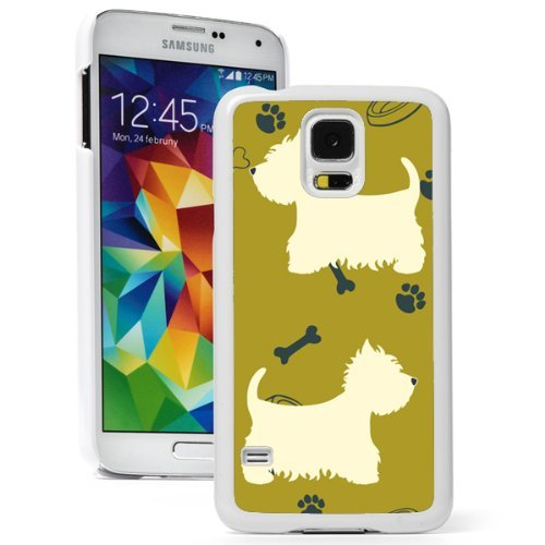 Samsung Galaxy (S5 Active) Hard Back Case Cover Westie Highland Terrier Dog Pattern (White)