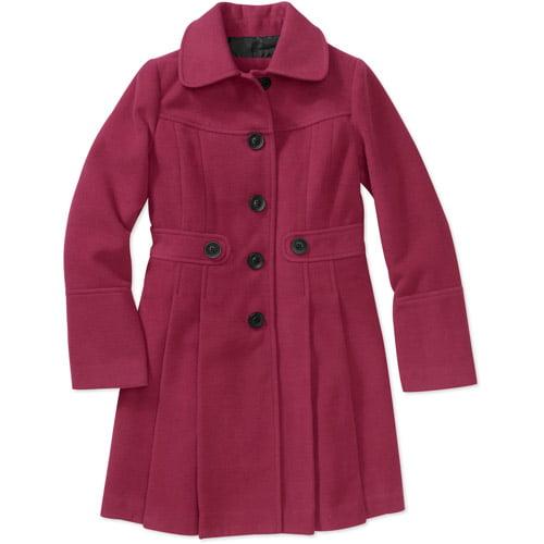 George Girls' Pleated Faux Wool Coat Jacket
