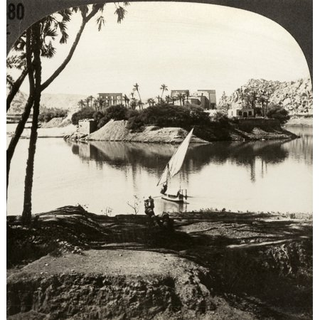 Egypt Philae Temple Nphilae The Pearl Of Egypt Now Submerged By Waters Stored By Assuan Dam Egypt Stereograph C1910 Rolled Canvas Art     24 X 36