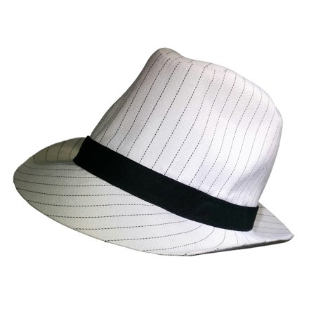roaring 20's white pinstripe gangster mob cotton fedora hat costume accessory (Pinstriped Fedora Gangster Hat)