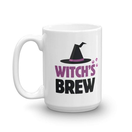 Witch's Brew Cute Witch Hat Halloween Themed Coffee & Tea Gift Mug, Party Favors, Decorations, Props, Supplies, Accessories, Stuff, Items, Serveware And Kitchen Ornaments (15oz) - Halloween Themed Entree