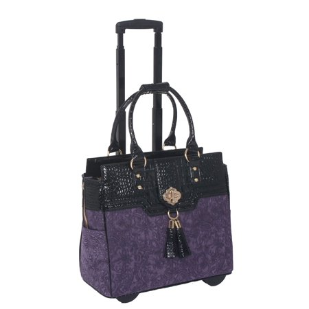 JKM and Company THE CONTESSA Purple & Black Alligator Faux Leather Compatible With Computer iPad, Laptop Tablet Rolling Tote Bag Briefcase Carryall