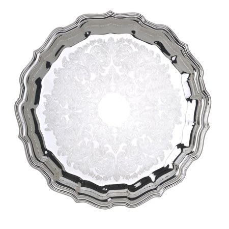 Reed & Barton S-283 Round Chippendale Embossed center Tray, 12.5-Inch