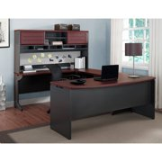 Altra Benjamin U Shaped Desk with Hutch - Cherry and Gray