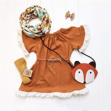 Casual Baby Girl Lace Sleeved Princess Dresses Cotton Kids Party Lace Tunic Dress With Belt 1-2 Years - Girls Tunic Dresses
