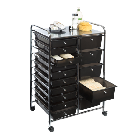 15-Drawer Organizer Cart w/ Wheels, Black by Seville Classics