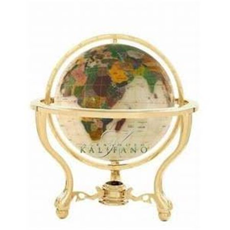 Alexander Kalifano GT150AS-SMOP 6 in. Gemstone Globe with Smooth Mother of Pearl Ocean & Silver Commander 3-Leg Table - Mother Of Pearl Globe