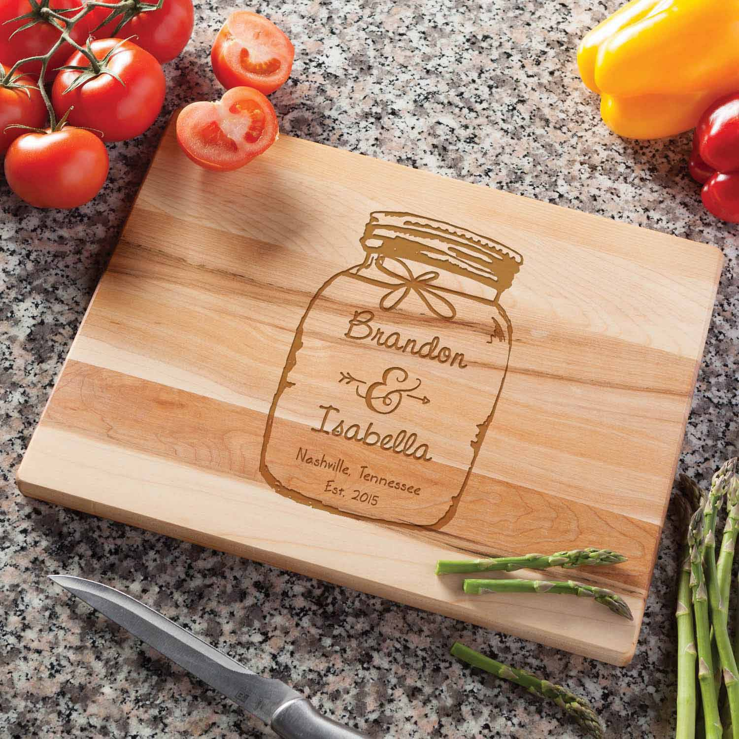 Personalized Mason Jar Cutting Board