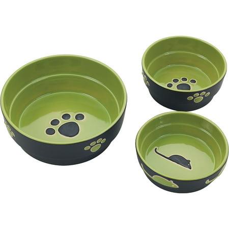 Ethical Stoneware Dish-Fresco Dog Dish- Green 5 Inch