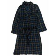 Izod Mens Plush Blue & Gray Buffalo Plaid Robe Housecoat Bath Robe