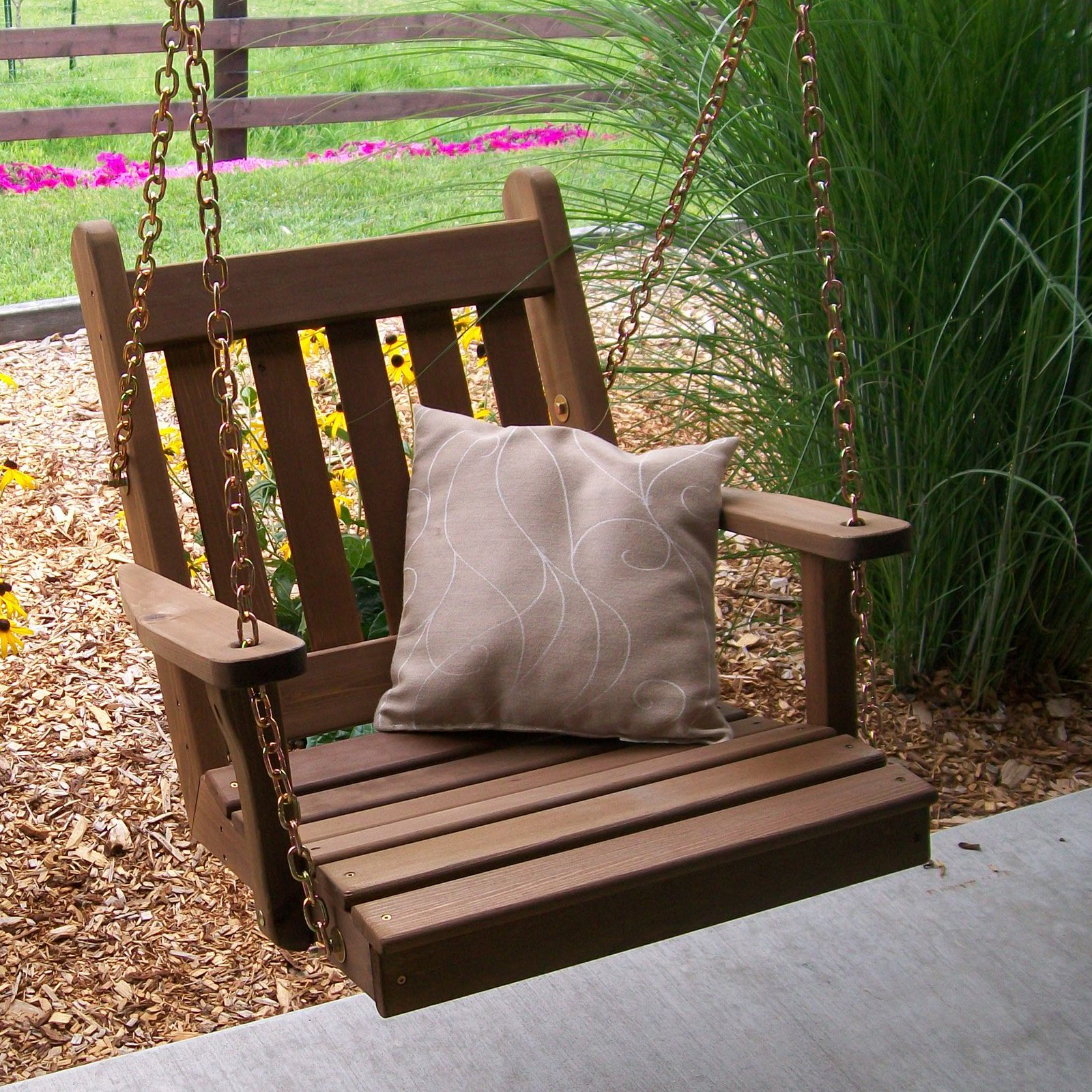 A & L Furniture Western Red Cedar Traditional English 2 ft. Chair Swing with Chains