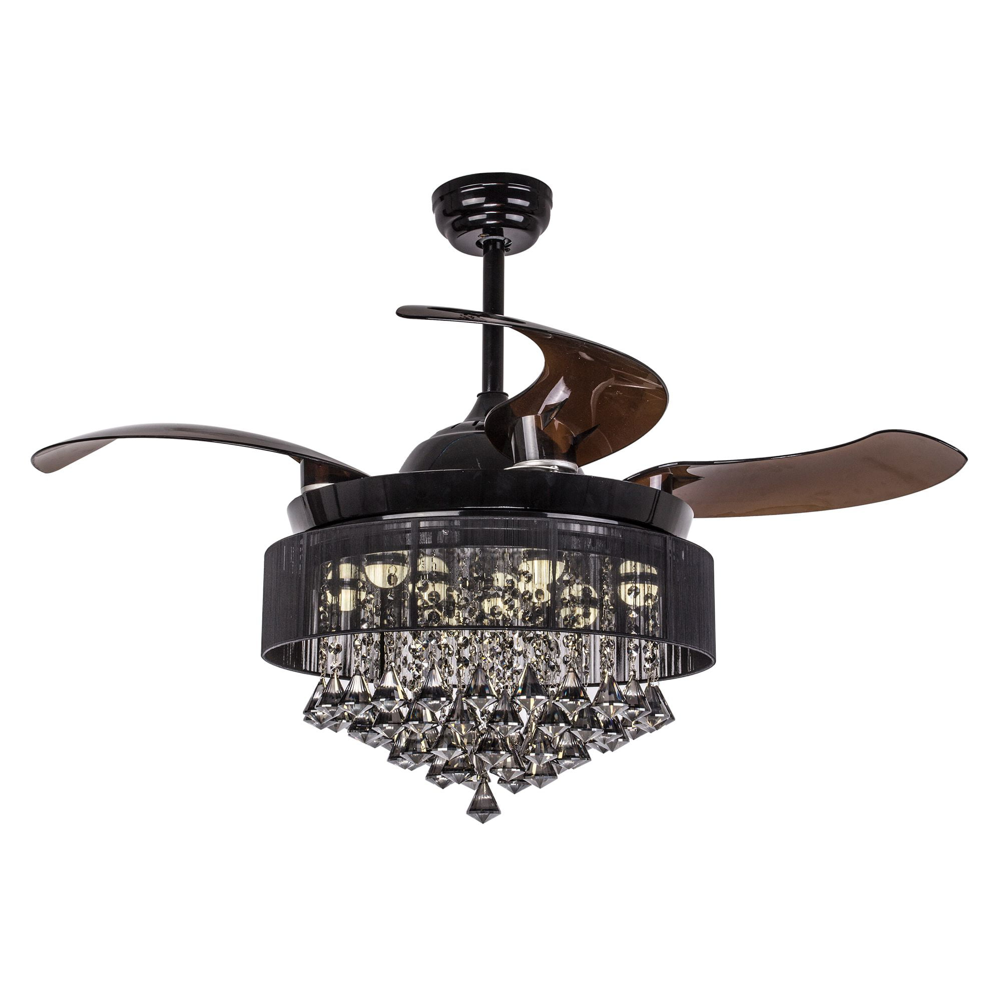 Modern Invisible Acrylic Leaf Led Ceiling Fans White/black Steel Led Ceiling Fan Lighting Dining Room Dimmable Ceiling Fixtures Ceiling Lights & Fans Ceiling Fans