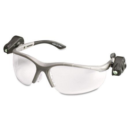 3M LightVision Safety Glasses w/LED Lights, Clear AntiFog Lens, Gray Frame -MMM114760000010 Led Eye Safety