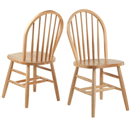 Winsome Wood Windsor Chair 2 Pack, Natural Finish (Windsor Chair Kit)