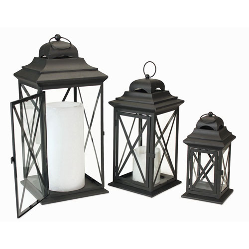 """Set of 3 Midnight Black Iron and Glass Pillar Candle Lanterns with Handle 22"""""""