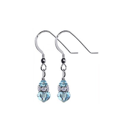 Gem Avenue 925 Sterling Silver Made With Swarovski Elements Blue Crystal And Rondelle Accents Handmade Drop Earrings