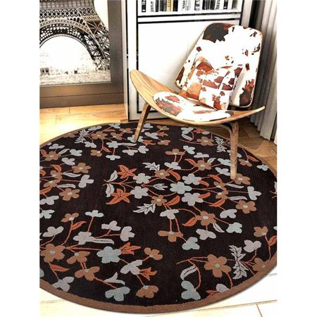 8 x 8 ft. Floral Hand Tufted Woolen Round Area Rug, Brown 8' Round Wool Rug