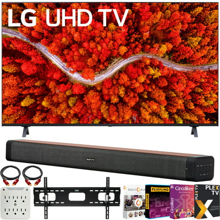 LG 50UP8000PUA 50 Inch 4K UHD Smart webOS TV (2021) Bundle with Deco Home 60W 2.0 Channel Soundbar w/subwoofer + Wall Mount Kit + Premiere Movies Streaming 2020 + 6-Outlet Surge Adapter