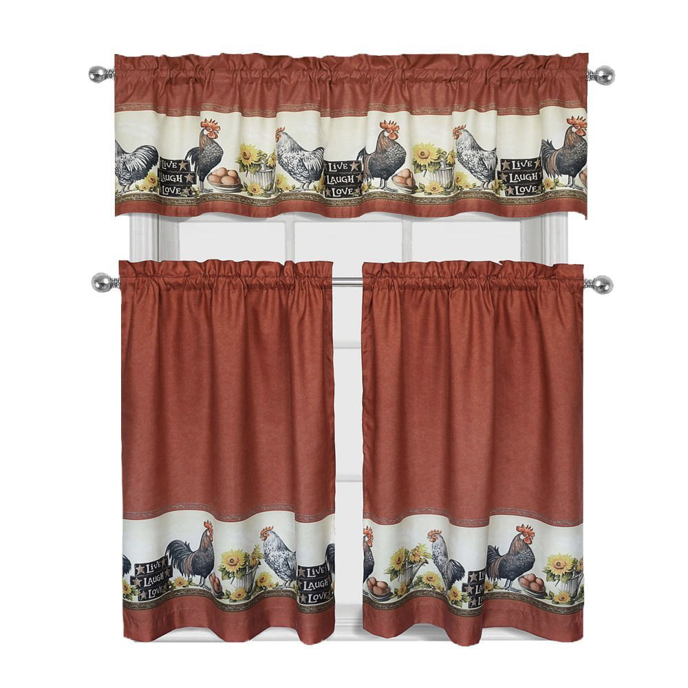 Roosters Sunflowers Live Laugh Love Complete 3 Pc Kitchen Curtain Tier Valance Set Walmart Com