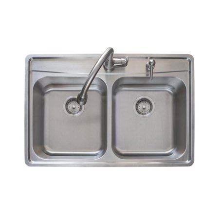 Franke EVDCS802KIT Evolution 33 1/2u0022 Double Basin Drop In Stainless Steel Kitchen Sink with Two Faucet Holes