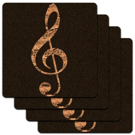 Sheet Music Treble Clef Black Music Low Profile Cork Coaster Set ()