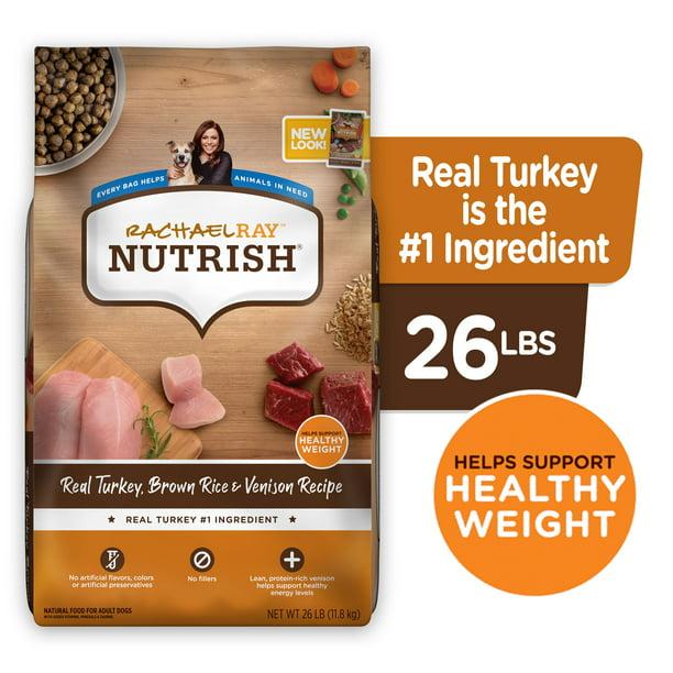 Rachael Ray Nutrish Natural Premium Dry Dog Food, Turkey, Brown Rice & Venison Recipe, 26 Lbs