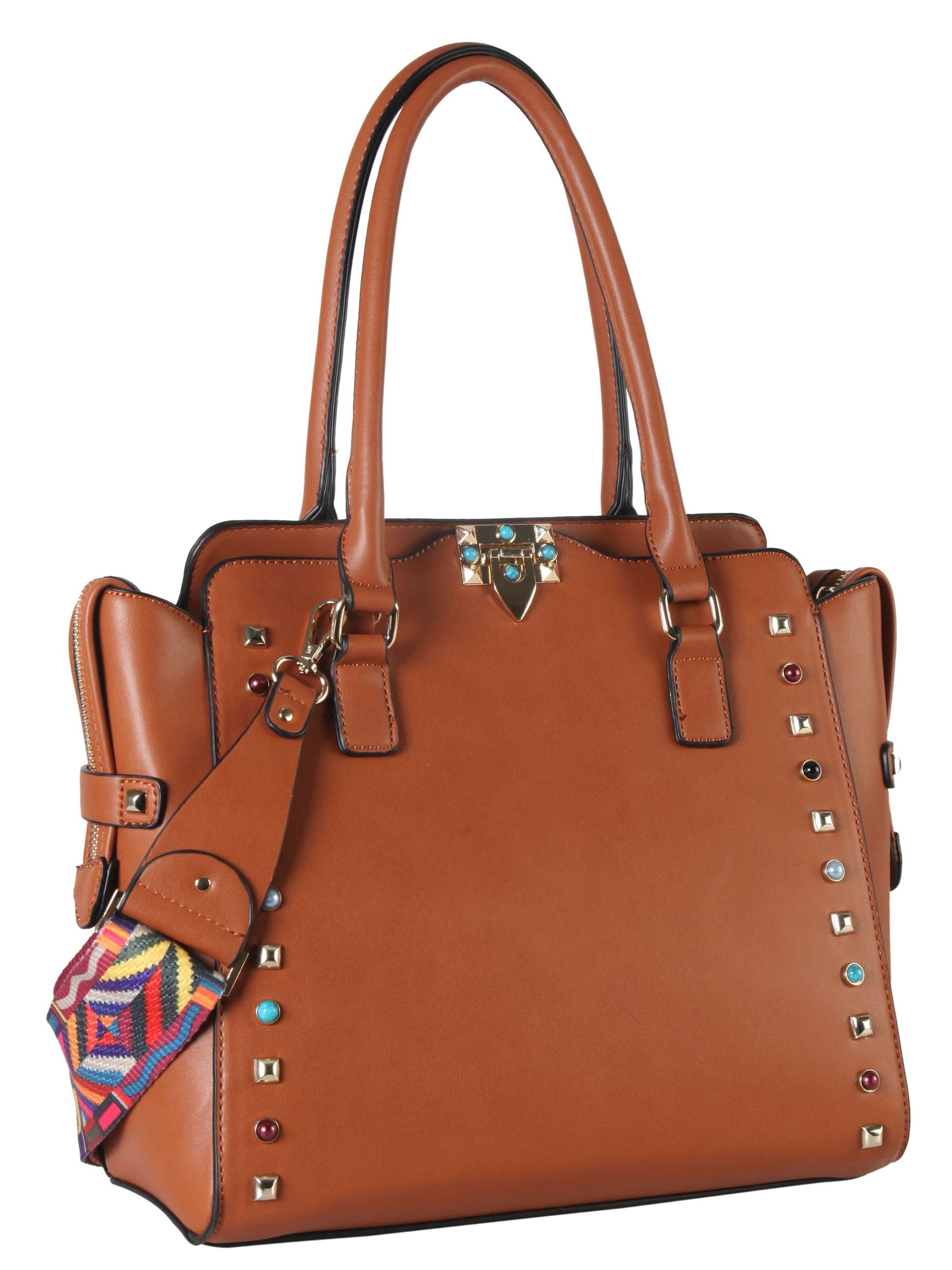 ceede3b73b25 Diophy Front Studded Bead Faux Leather Turn Lock Tote Bag with ...