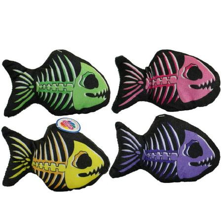 Nanco Plush - Skeleton Fish - SET OF 4 (Purple, Yellow, Pink & Green)(7 inch) - Fish Skeleton