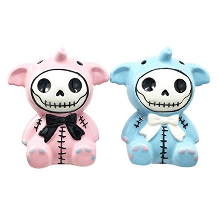 Furrybones Elefun Elephant Hooded Skeleton Ceramic Salt Pepper Shakers Set Collectible Figurines Kitchen & Dining Centerpiece