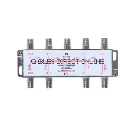 8 Way 5-2300 MHz Coaxial Antenna Splitter for RG6 RG59 Coax Cable Satellite HDTV (8 Ports) Rg6 Cable Splitter