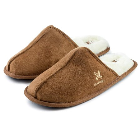 Roxoni Mens Warm Winter Slippers-Scuff Style-Sizes 7 to 13-Faux Sheepskin Lined -Rubber Sole-Style - Grey Sheepskin Leather