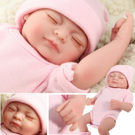 NPK 11'' Realistic Lifelike Realike Sweet Dream Newborn Reborn Girl Doll Shower Toy Silicone Vinyl Handmade Kid Pretend Role Play Toy Weighted Alive Doll with Clothes Hat Gifts ()