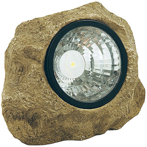 Moonrays Solar Powered LED Rock Spotlight Garden Accent with Hidden Key Compartment