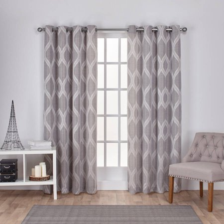 Linen Window Panel (Exclusive Home Curtains 2 Pack Montrose Ogee Geometric Textured Linen Grommet Top Curtain Panels )