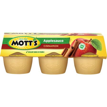 (3 Pack) Mott's Applesauce Cups, Cinnamon, 4 Oz, 6 - Motts Healthy Harvest Applesauce
