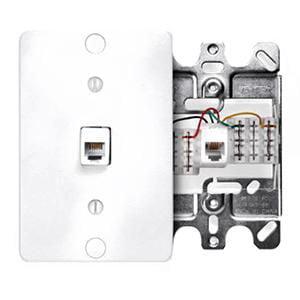 Leviton 40253-I Telephone Wall Phone Jack Ivory 6P4C