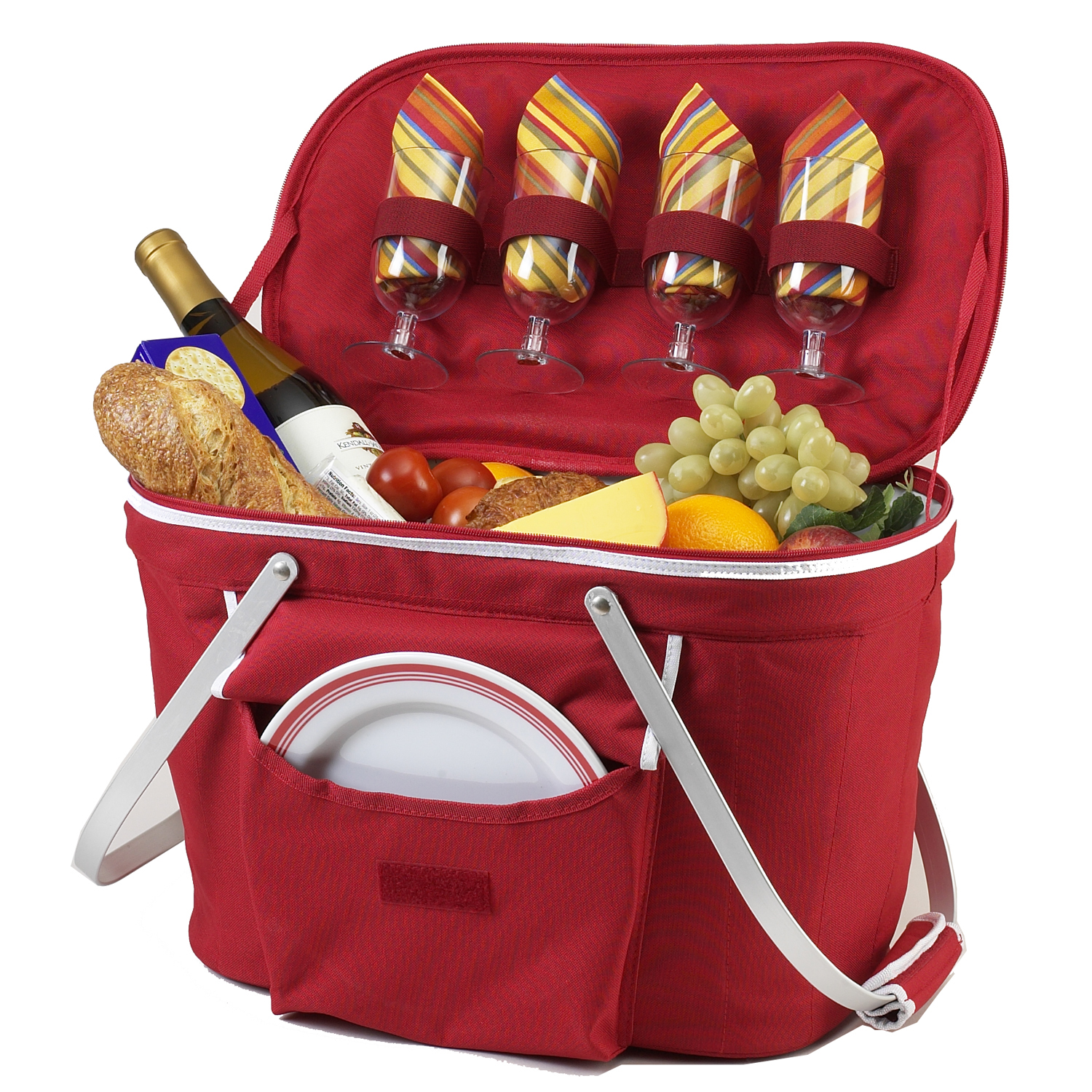 Picnic at Ascot Collapsible Insulated Picnic Basket for 4 (401-R)