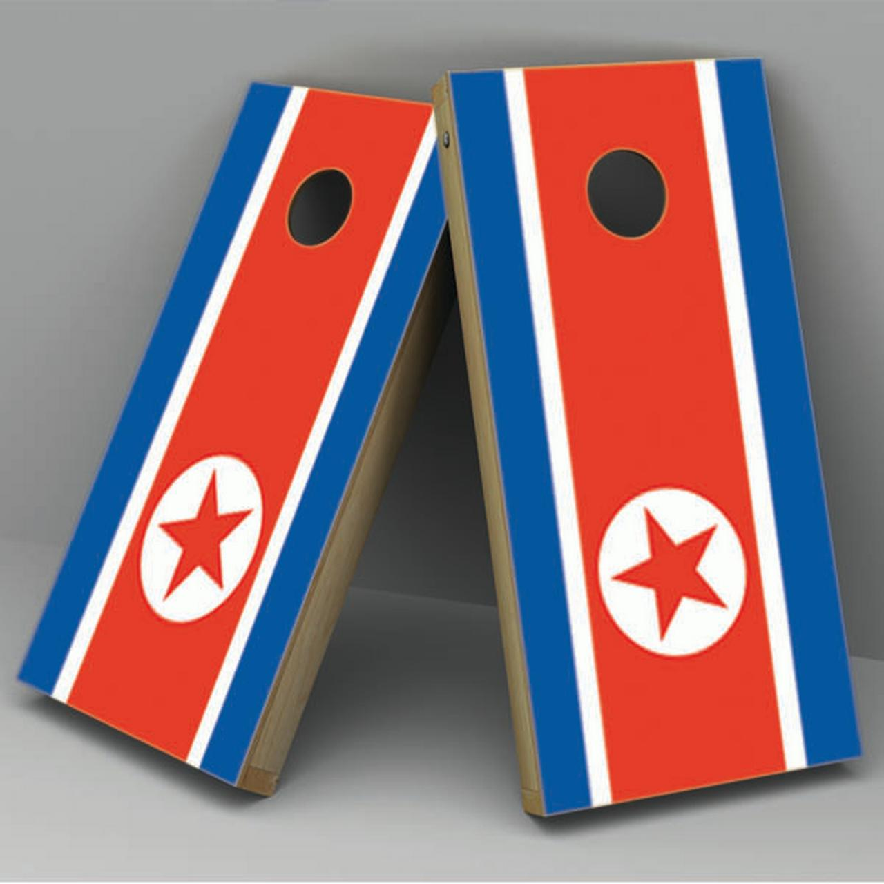 North Korea Flag Cornhole Board Vinyl Decal Wrap