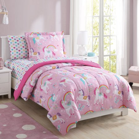Mainstays Kids Rainbow Unicorn Bed in a Bag Complete Bedding Set (Dolphin Twin Bed Set)