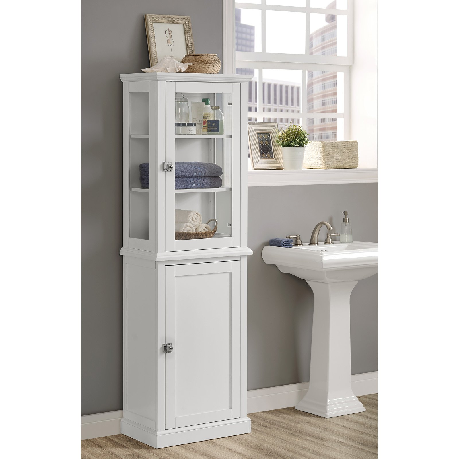 Superieur Linon Scarsdale Tall Cabinet, White, Open And Closed Storage Area    Walmart.com