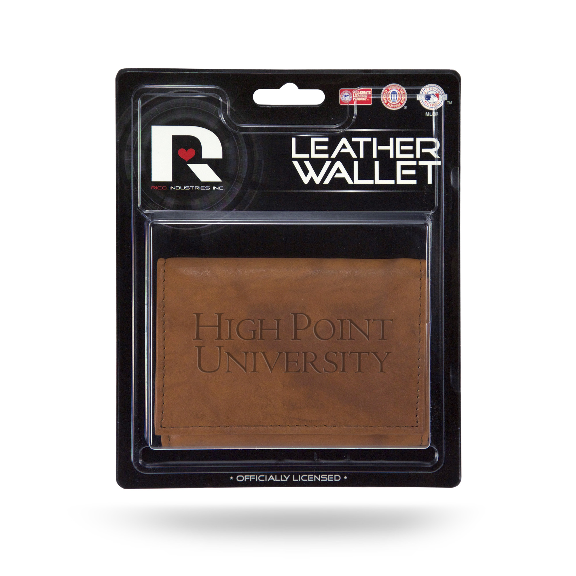 High Point Panthers NCAA Embossed Brown Leather Trifold Wallet