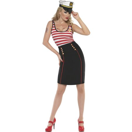 Smiffys Sexy Retro Pin Up Sailor Girl Adult Halloween Costume - Pin Up Halloween Costumes