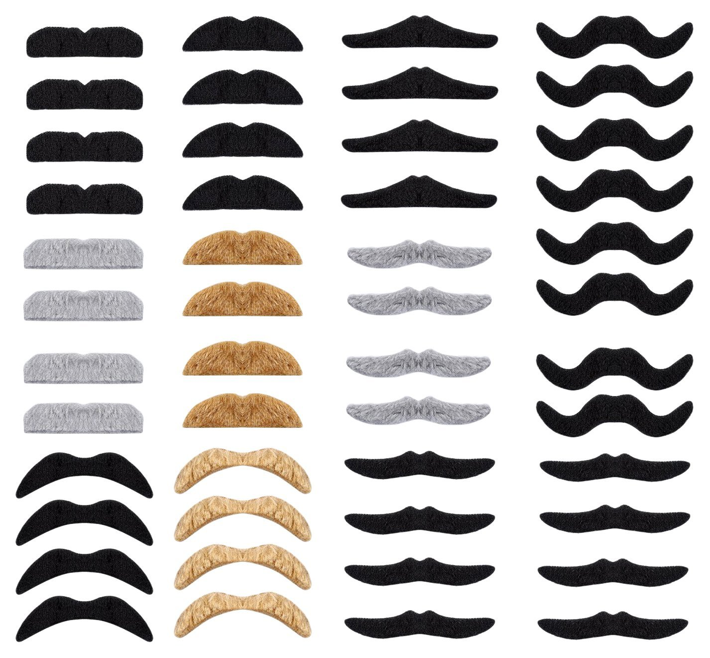 Cp Usa New 48 Piece Self Adhesive Fake Mustache Set Novelty Mustaches Festival Party Fun and Silly Styles