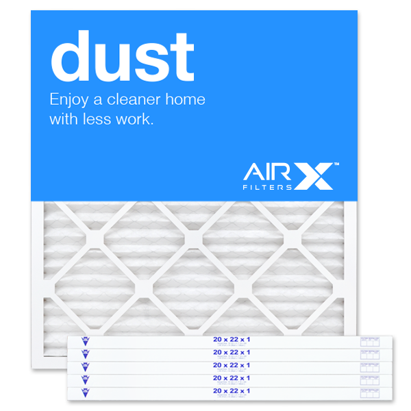 AIRx Filters Dust 20x22x1 Air Filter MERV 8 AC Furnace Pleated Air Filter Replacement Box of 6, Made in the USA